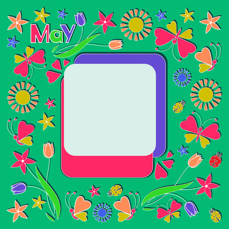 Spring frame. Flat style.