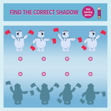 Polar bear-sailors signals semaphore flags. Find the correct shadow. A learning game for children. Cartoon vector illustration. Childrens educational game collection.