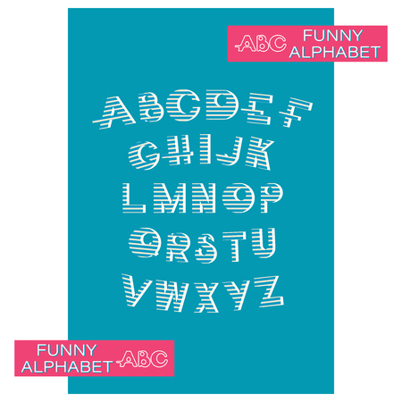 Striped alphabet on blue background. Design a font in blue stripes and an alphabet of capital letters for children marine symbols. 向量圖像