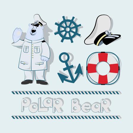 Orso polare e design di elementi marini.