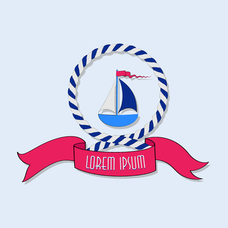 Sailboat in a circle of a rope. Emblem. Sticker. Poster. The concept of sea navigation, competitions, tourism, recreation, travel. Design for printing on fabric or paper.