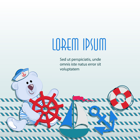 Sea poster with little teddy-bear with a steering wheel. The concept of the design of packaging materials for toys, childrens clothing with marine themes, offers for discounts and sales.