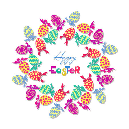 Easter wreath with easter eggs hand drawn on white background. Decorative frame of Easter eggs, colored bows and ribbons, arranged in a circle shape and decorated with ornament, dots, wavy lines.