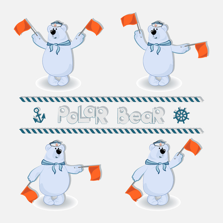 Polar bear-sailors signals semaphore flags set. Profession sailors long-distance voyage. The concept of marine swimming, tourism, recreation, travel.