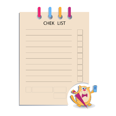 CHEK LIST and the cat with mobile phone. Design for messages, business information, business notes, tests, a list of calls, business meetings. 向量圖像