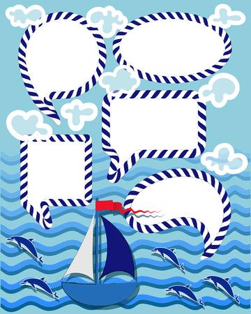 Rêves et souhaits et messages. Ensemble. Conception de thème marin d'aventure lumineuse. Pour anniversaire, anniversaire, invitations à des fêtes, scrapbooking, T-shirt, cartes, autocollants.