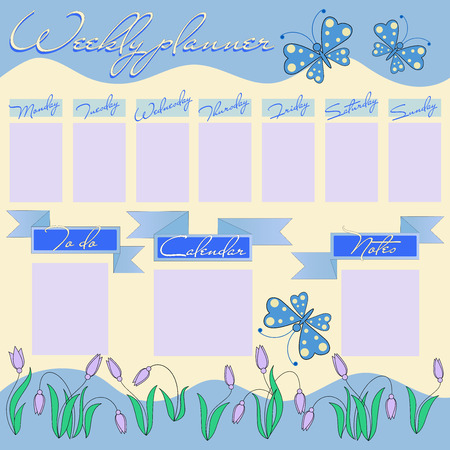 Weekly planner for girl with flowers and butterflies. Stationery organizer for the girls daily plans. Floral vector weekly scheduler template, graphic.