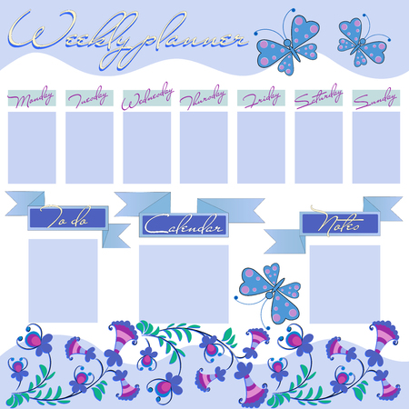 Weekly planner with decorative flowers and butterflies. The organizer of stationeries for every girl plans every day. Floral vectorial template of weekly planner, graphic  イラスト・ベクター素材