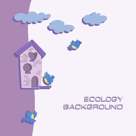 Bird house and birds of the titmouse. Ecological background. Poster with place for text. Cartoon style. Çizim