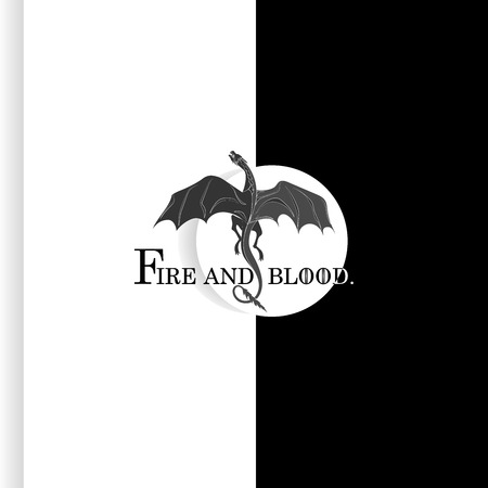 Black dragon. Mythical animal. White circle with text. Vector symbol. Emblem, sticker. Vector image with text on background.