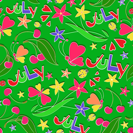July. Summer composition. Seamless pattern. Design for children's textiles, gift wrapping. Flat style.