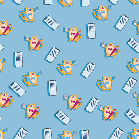 Funny cat with an umbrella and a mobile phone. Seamless pattern. Design for smartphone covers, image for textiles, wrapping paper. Illustration
