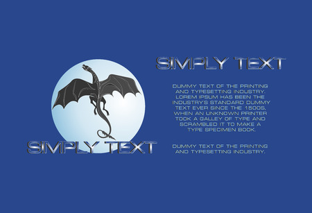 Dragon against the background of the full moon. Blue background with place for text. Mythical animal. Vector symbol. Emblem, poster, banner.