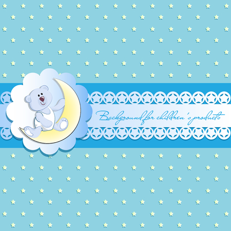 Light blue background with stars. White bear cub on a young month. Vintage background, openwork ribbon with starlets and place for text. Invitation card or template for childrens products, postcards.