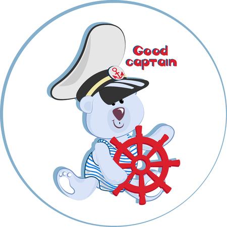 BON CAPITAINE. Ours polaire drôle. Emblème pour textiles pour enfants, pour albums pour enfants, emballage de jouets à thèmes marins. Temps d'aventure et de voyage en mer.