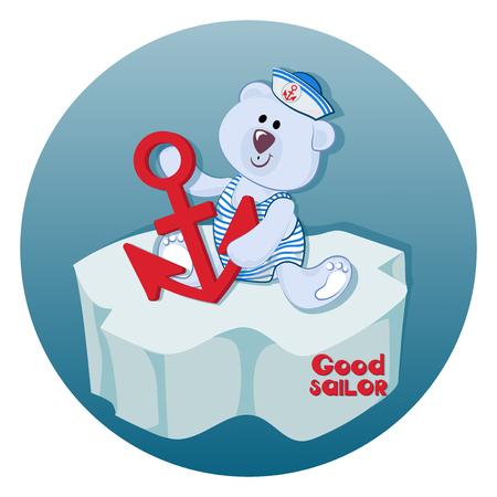 Ourson polaire avec une ancre. Bon marin. Bébé ours drôle. Emblème pour textiles pour enfants, pour albums pour enfants, jouets d'emballage avec des thèmes marins. Temps d'aventure et de voyage en mer.