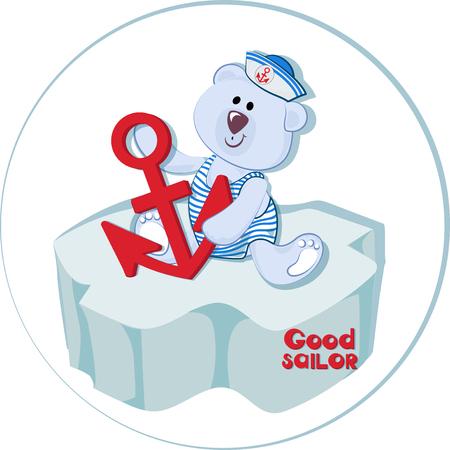 Bon marin. Ourson polaire avec une ancre sur la banquise. Bébé ours drôle. Emblème pour textiles pour enfants, pour albums pour enfants, jouets d'emballage avec des thèmes marins. Temps d'aventure et de voyage en mer.