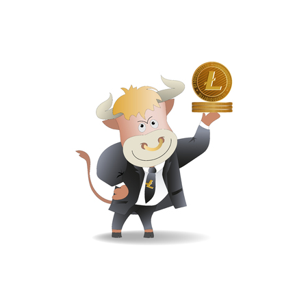 Bull businessman demonstrates Litecoins. The trader. Cryptography, an illustration of financial technologies, the strategy of playing on the exchange. Cartoon style. Illustration