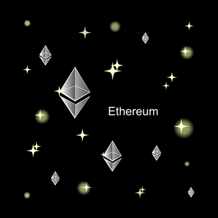 Silver Ethereum. The virtual world of crypto-currency. A digital currency sign on a dark cosmic background. Cryptography, illustration of financial technologies. Used for printed materials.