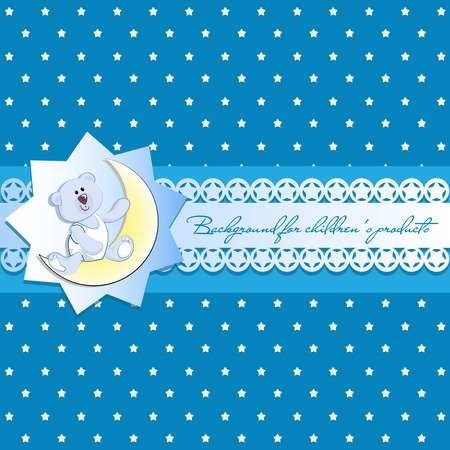 Cute white bear cub on a young month. Blue background with stars. Vintage background, openwork ribbon with starlets Invitation card or template for children's products, postcards.