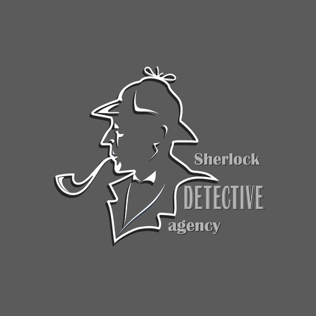 Sherlock. Detective Agency. Cut out silhouette with text. Design of a poster, emblems, a signboard of a private detective firm. Illustration