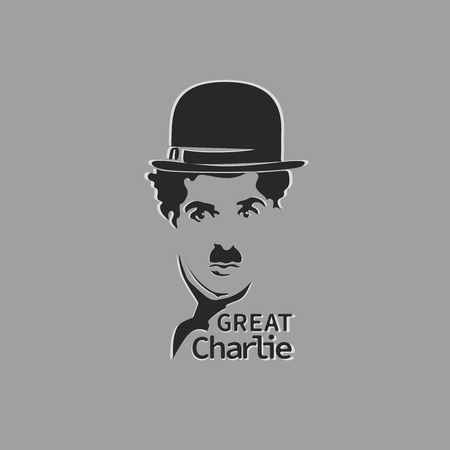 Great Charlie. Image stencil on a gray background. Design for printing on paper, textiles or design of a thematic poster, brochures, leaflets.  イラスト・ベクター素材