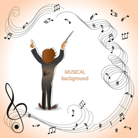 Conductor of orchestra. Magic of music. Composition for the design of advertising booklets, illustrations, concert programs, announcements of speeches in magazines, newspapers, websites.