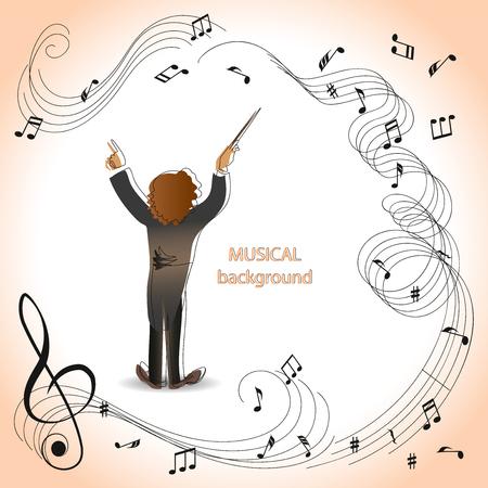 Dyrygent orkiestry. Magia muzyki. Kompozycja do projektowania folderów reklamowych, ilustracji, programów koncertów, zapowiedzi wystąpień w magazynach, gazetach, stronach internetowych.