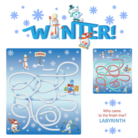 Competitions of skiers for snowmen. Labyrinth. Who came to the finish line? WINTER. The design of the educational game with the inscription. Snowmen in the style of cartoon characters.