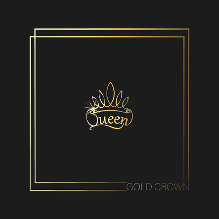 GOLD CROWN. Queen. Emblem, logo, badge. drawing. The background is dark. The element of graphic design, printing on t-shirts. Vector images for printing on fabric or paper. Ilustração