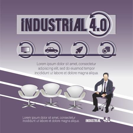 INDUSTRIAL 4.0. Poster with a keyword and a businessman. Thematic composition with icons, text and sitting man. Business concept for office design, web pages, web site.