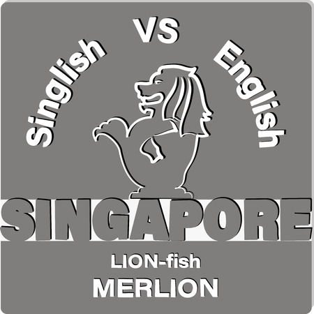 LION-fish MERLION. SINGAPORE. Emblem, a symbol of a carved lion and inscriptions on a gray background. Contrast image. Vettoriali