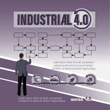 Businessman is working on a circuit. INDUSTRIAL 4.0. A poster with a keyword and a businessman. Thematic composition with icons, text and standing man. Business concept for office design, web pages.