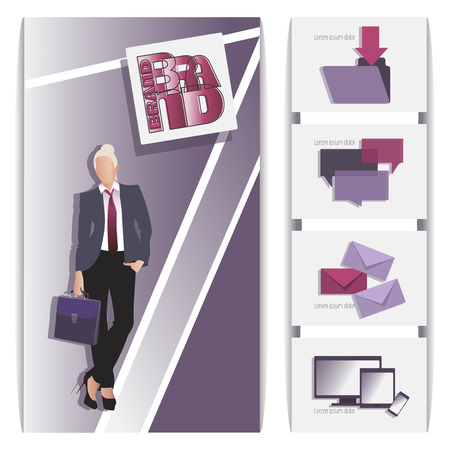 Businesswoman. Office concept business. Businessman character design. Creative design of the site, office, template. Concept of web page design for a website and mobile websites. Ilustrace
