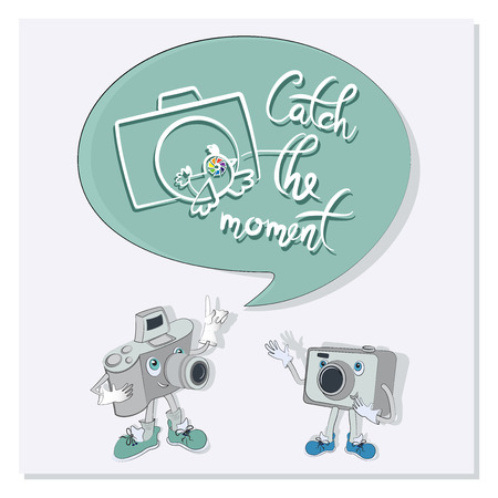 Funny characters with quote speech bubbles. Catch the moment. Poster with a pair of funny cameras. Composition with cameras, words and a bird. Design for the site, printing on paper or textiles. Illustration
