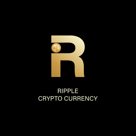 Ripple. Capital letter R and symbol of a physical coin. Gold sign of crypto currency on a dark background. Cryptography, illustration of financial technologies. Use for logos, print products. Illusztráció