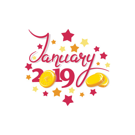 January 2019. Gold coins. Good month. Lettering The inscription for the calendar, banner, poster, greeting card. Design for printing on fabric or paper. 일러스트