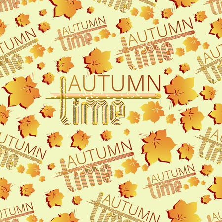 Autumn time. Falling leaves. Seamless pattern. Orange yellow leaves on a light background with inscriptions. Design for background site, textiles and packaging materials.
