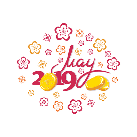 May, 2019. Gold coins. Good month. Lettering The inscription for the calendar, banner, poster, greeting card. Design for printing on fabric or paper. 일러스트