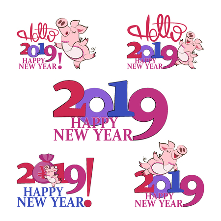 2019 Happy New Year. Cute pig. Chinese New Year of the pig. Set. The symbol of the winter holidays. Zodiac sign. Gift greeting card with a festive greeting.