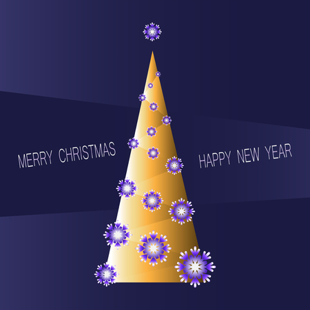Golden Christmas fir tree with snowflakes. Dark purple-blue background. Festive greeting. Merry Christmas and a Happy New Year! Greeting card, an invitation to a celebration. Banque d'images - 113723484