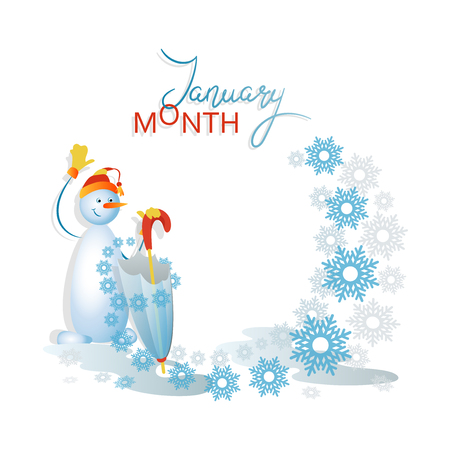 Snowman with an umbrella. January is a month. Frozen puddles Composition with space for text. Design for poster, advertisement, calendar.