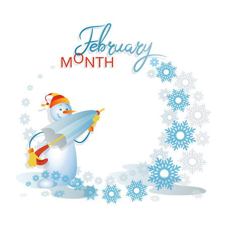 Snowman with an umbrella. February is a month. Ice and flying snowflakes on a light background. Composition with space for text. Design for poster, advertisement, calendar 일러스트