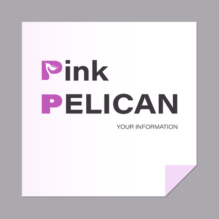 Letter with bird. Pelican. Capital letter pink.The inscription can be used for environmental posters. Ilustração