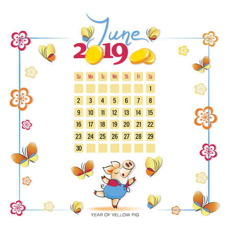 Calendar 2019 for June. Yellow pig with butterflies. Symbol of the year. Light background. Wonderful summer month. Design for printing on fabric or paper. 向量圖像