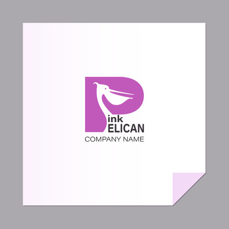 Letter with a bird. Pink pelican. Capital letter P. Logo, emblem.The inscription can be used for environmental posters, Ilustração