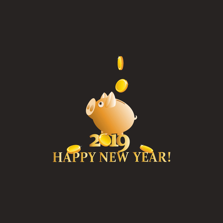 Yellow piggy bank. New year greetings. Dark background. Design for a greeting card, poster, advertising, calendar.