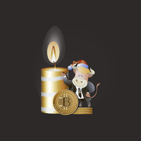 Bull businessman demonstrates the growth of bitcoins. Christmas candle. Cryptography, an illustration of financial technology, a cryptocurrency strategy game. Cartoon style.