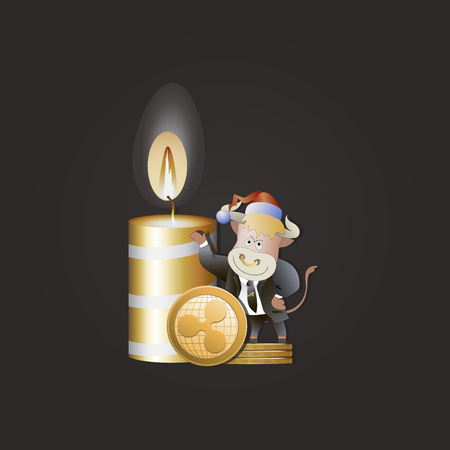 Bull businessman shows growth Ripple. Christmas candle. Cryptography, illustration of financial technology, cryptocurrency strategy game. Cartoon style. Illustration