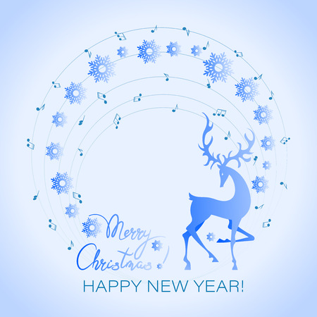 Winter deer. Musical holiday card. Poster, invitation card and snowflakes. Christmas Concert for the New Year